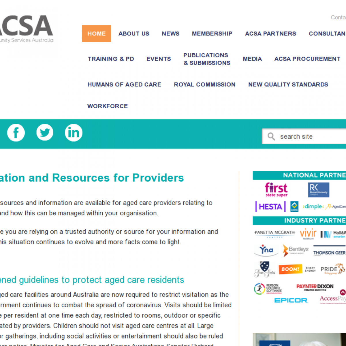 ACSA - Information and resources for providers